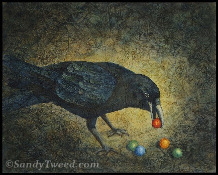 Original Acrylic Painting of a crow or raven.